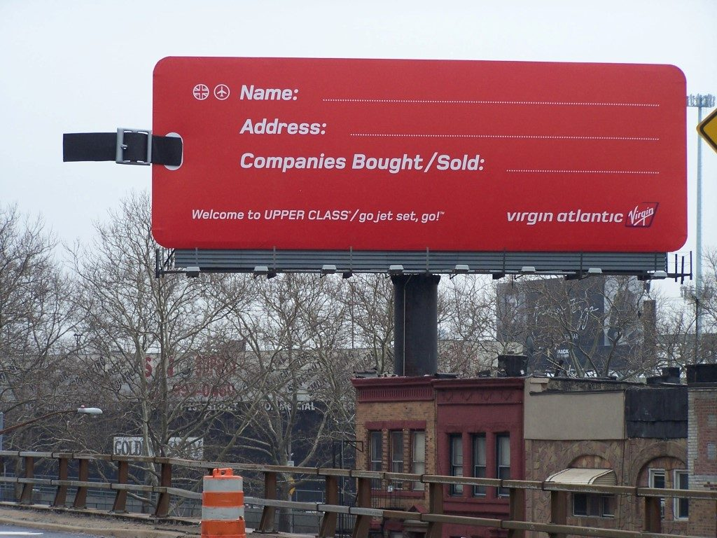 "Virgin Atlantic Billboard in NY with 10 ft Luggage Strap and 50"" Buckle"