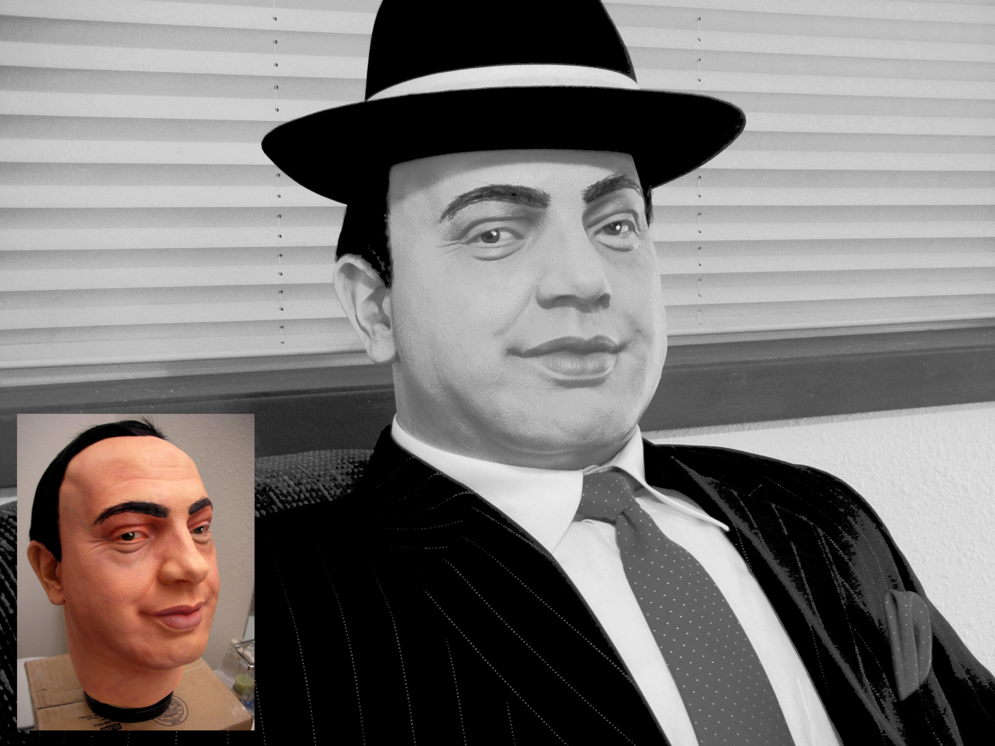 Al Capone Life-size Replica, Black and White Close-up