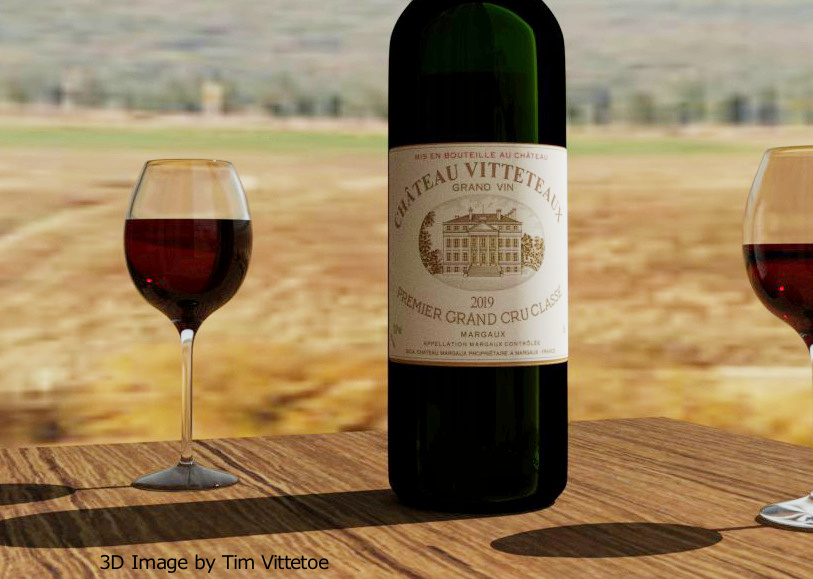 Chateau Vitteteaux Bordeaux Wine Bottle 3D Image
