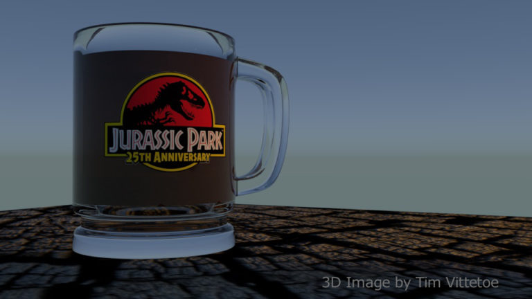 Glass Coffee Mug with Jurassic Park 25th Anniversary Logo - 3D Render
