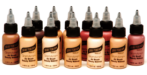 GlamAire™ Graftobian Airbrush Beauty Makeup, 12 full-size bottles, 1 oz ea