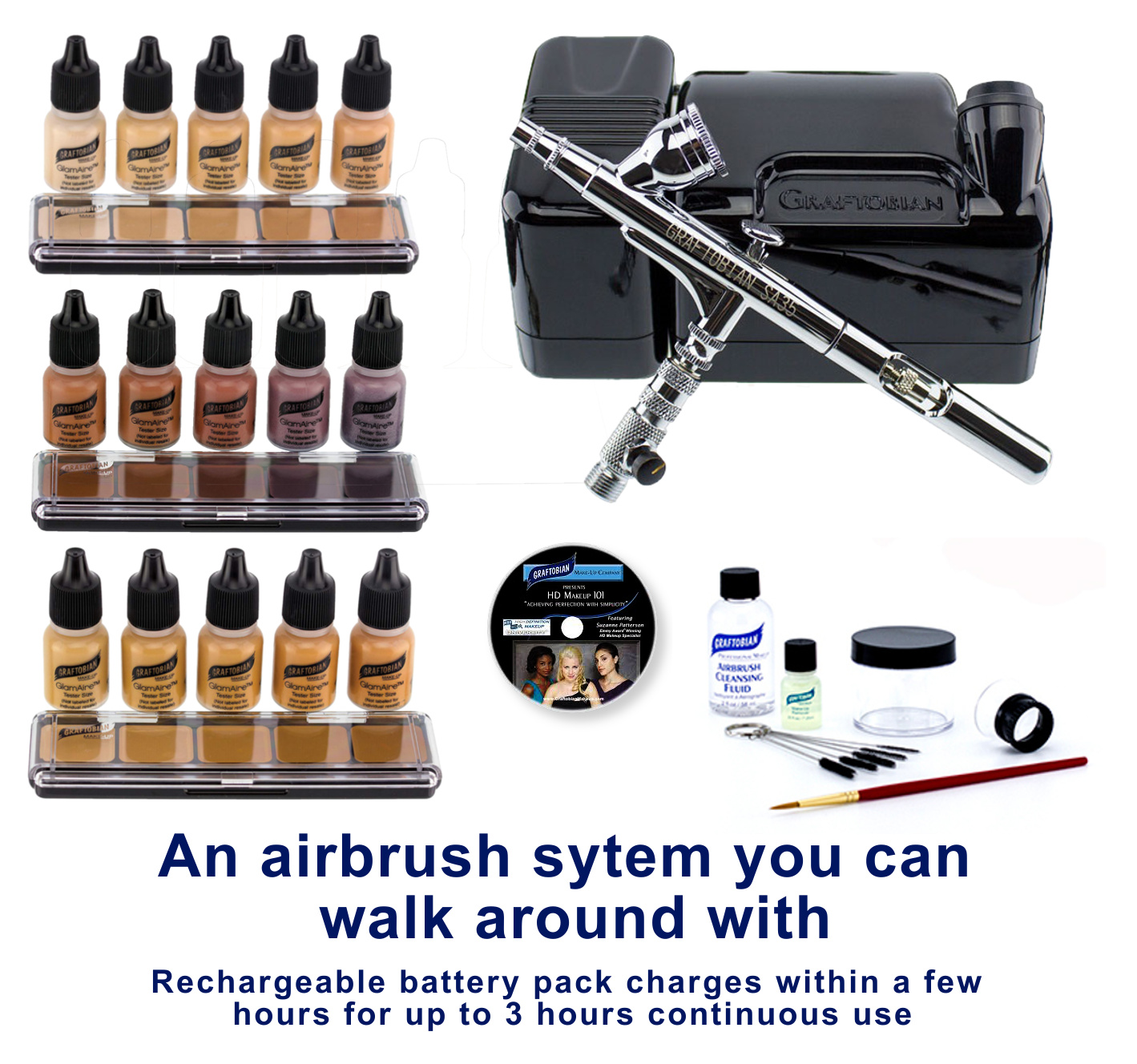 Walk-around Portable Professional Airbrush System with Makeup